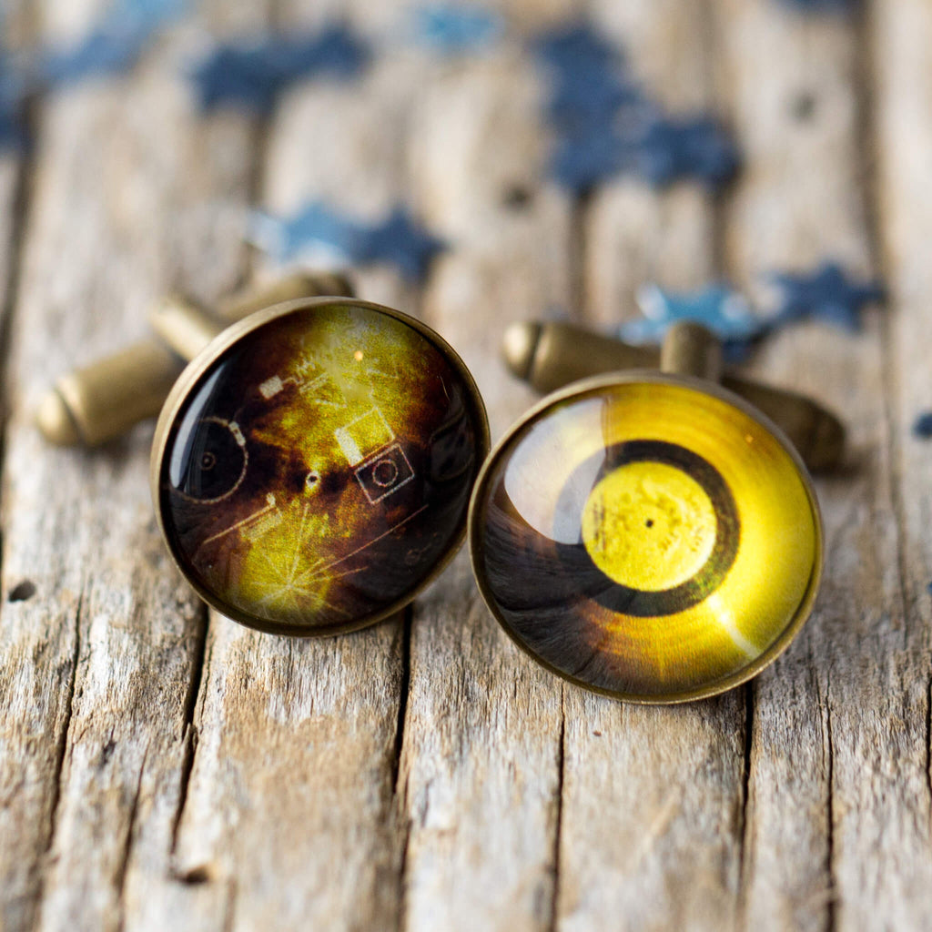 Bronze Cufflinks with Voyager Probe Golden Records - Carl Sagan Inspired Accessories, STEM gifts for men, astronomy cuff links by Yugen Tribe