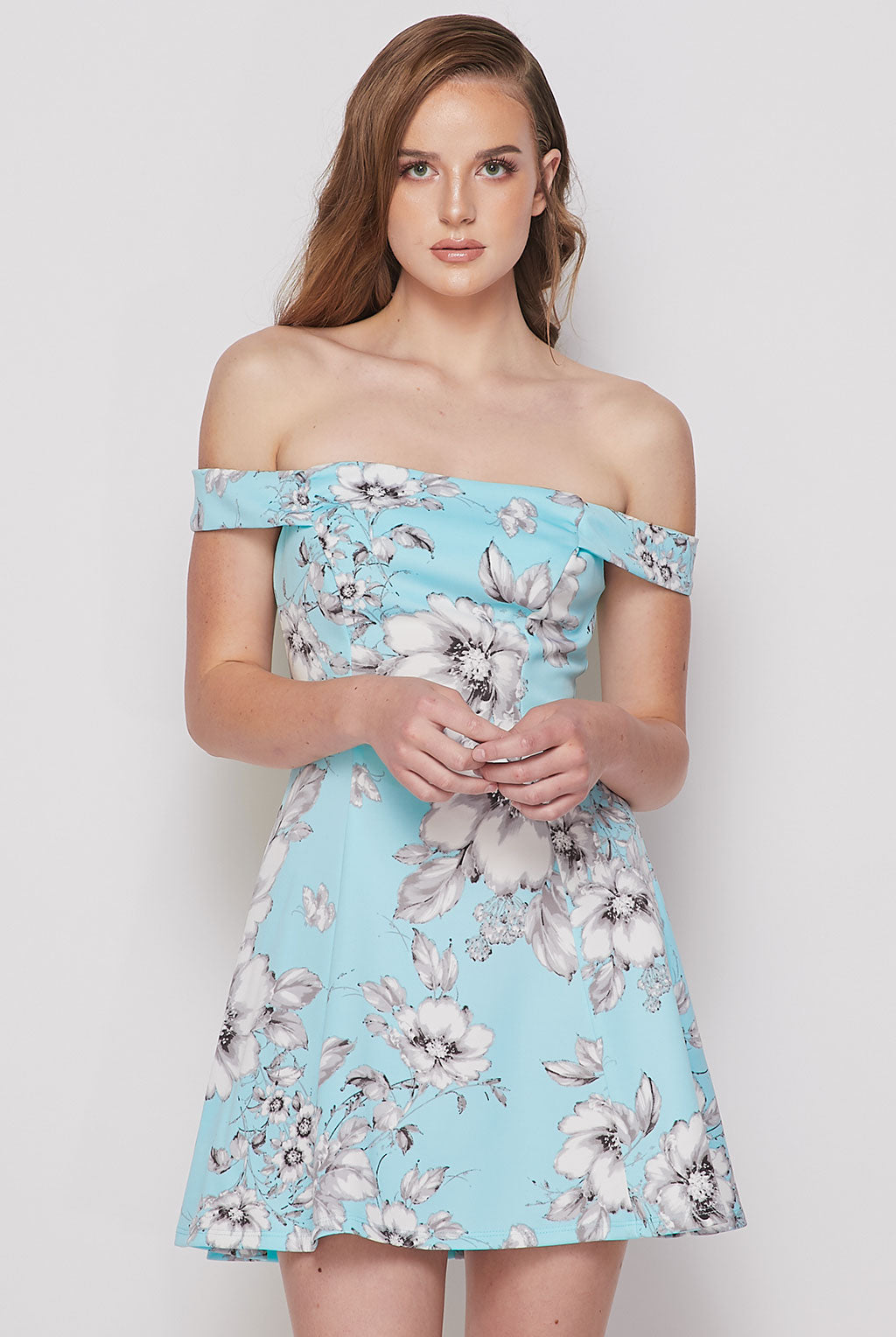 Teeze Me | Off Shoulder Floral Skater Dress | Mint