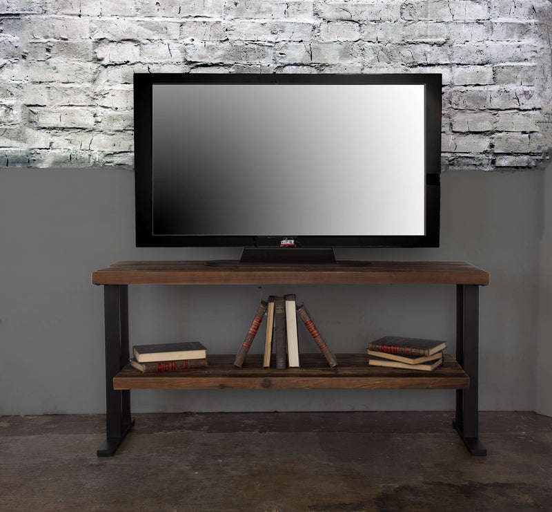 Distressed Natural Reclaimed Wood 2-Shelf TV Stand