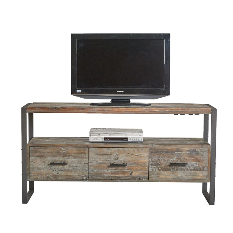 Antique Grey 3-Drawer Media Console