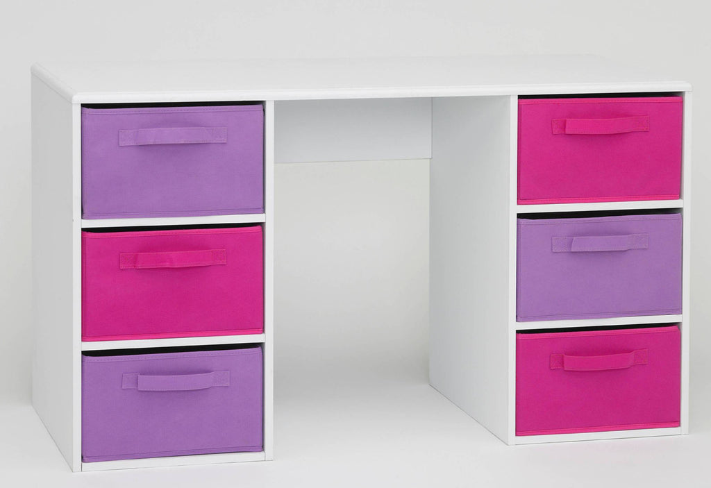 Girl's Colorful Student Storage Desk With Bins