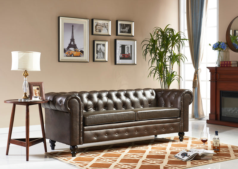 Sheffield Brown Leather Sofa
