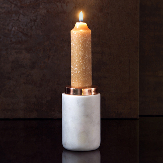 Michael Anthony Furniture Marble Round Taper Candle Holder