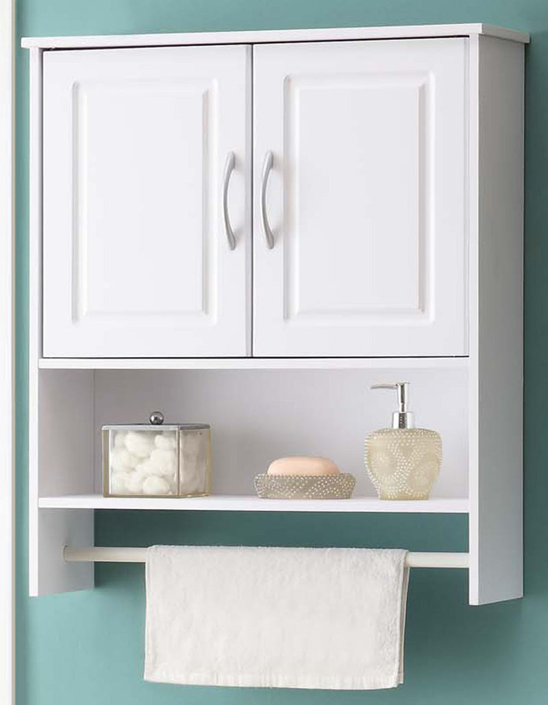 Michael Anthony Furniture 2-Door White Bathroom Wall Storage Cabinet