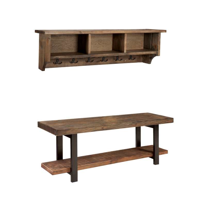 Sylvan Reclaimed Wood Storage Coat Hook and Bench Set