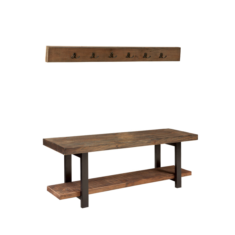 Sylvan Reclaimed Wood and Metal Wall Coat Hook and Bench Set