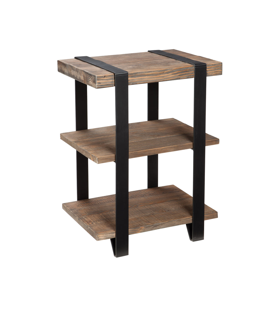 Foxford 2-Shelf Reclaimed Wood and Metal End Table