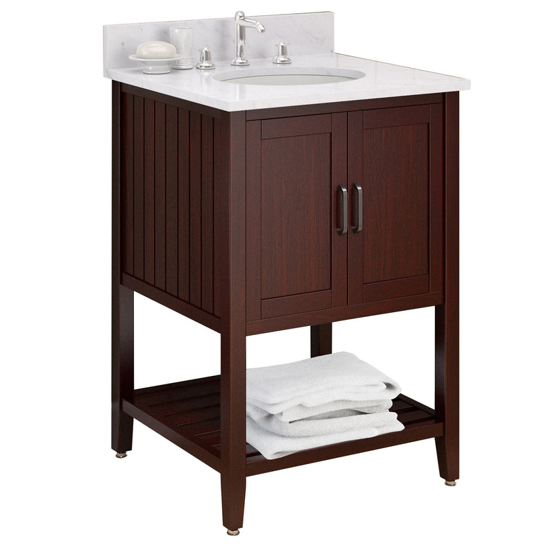 Adelino Espresso Bath Vanity with Marble Top