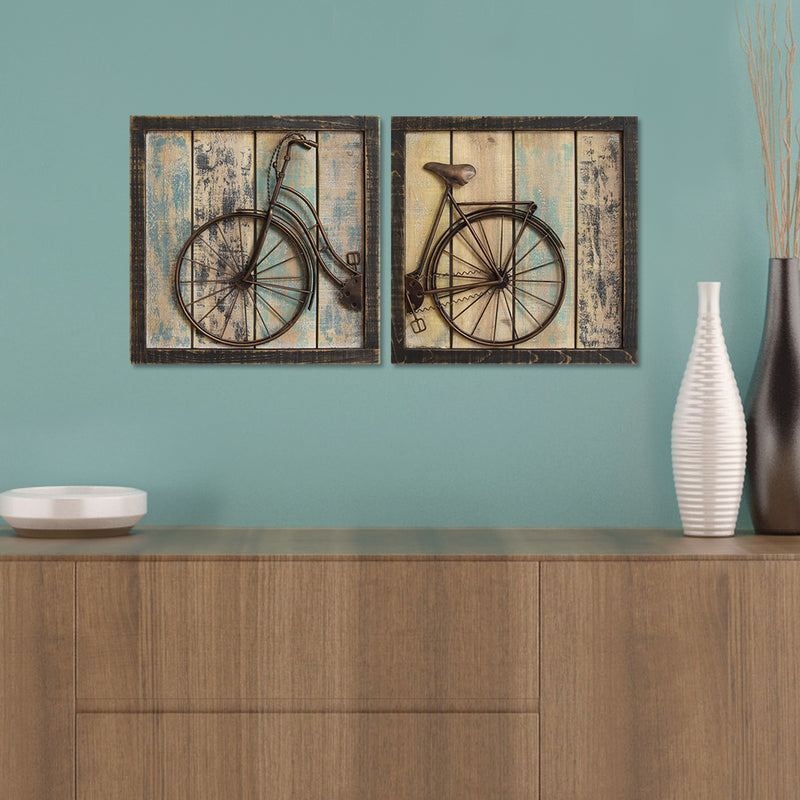 Gosport Antique Bicycle Wall Decor Panel (Set of 2) lifestyle