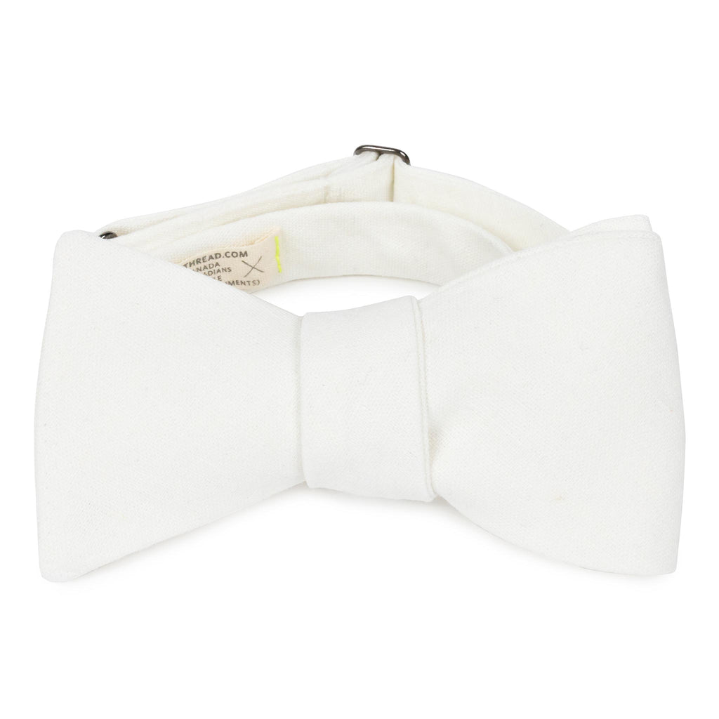 best white linen bow tie