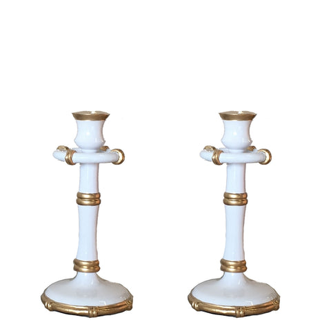Bamboo in White Candlestick, Medium