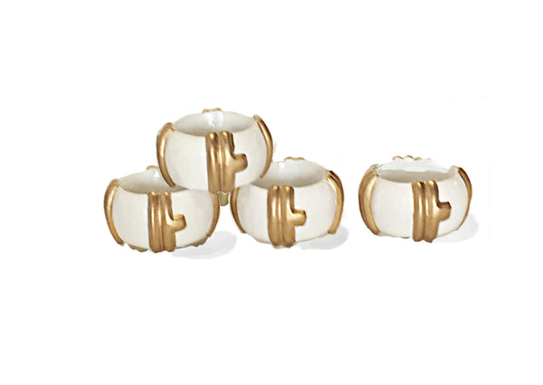 Bamboo in White Napkin Rings, Set of Four