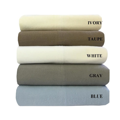 California King GRAY 100% Natural Cotton Solid Flannel Sheet Sets