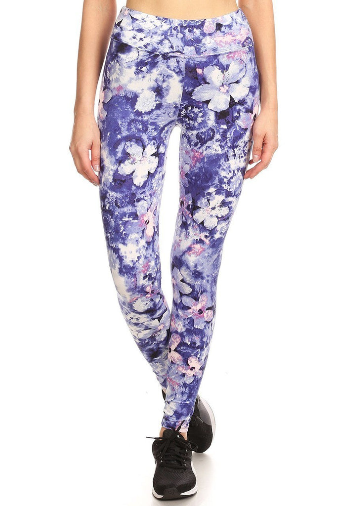 BRIGHT BLUE FLORAL LEGGINGS - ShesGotLeggings