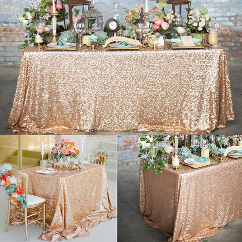 Rose Gold Sequin Tablecloth Glitter