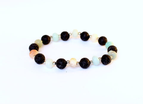 Black Lava and Amazonite Bracelet