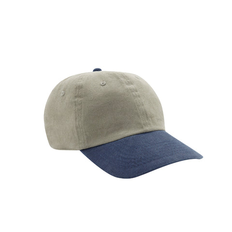 6 Panel Stone Washed Dad Hat - Stone/ Navy