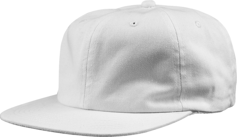 6-Panel Unstructured Flat Square Bill - White