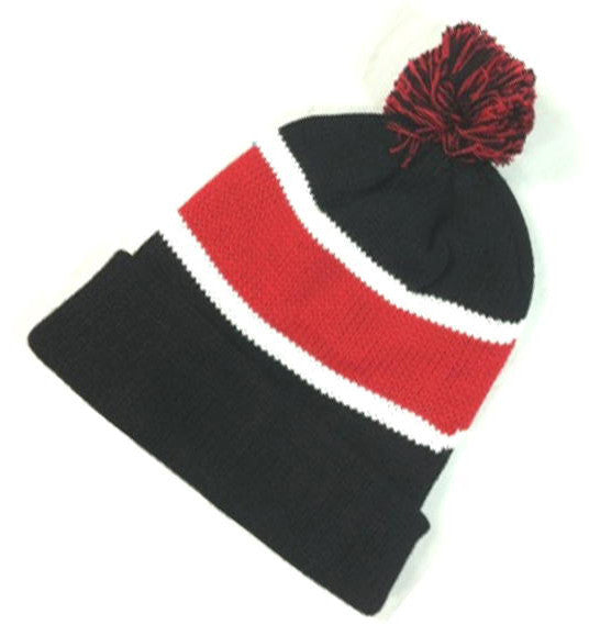 Black/ Red Pom-Pom Cuff Beanies