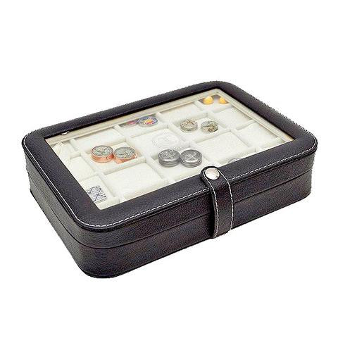 Black Leather Cufflinks Display Case (20 Pairs)