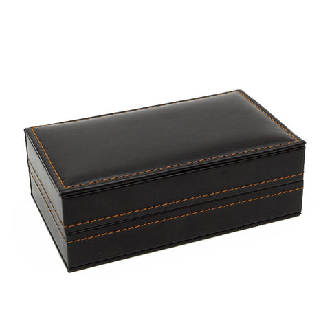 Black Leather Large Cufflink 4 Pair Gift Box