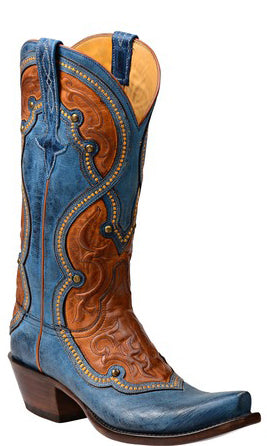 Lucchese AVERILL GY4532 Womens Ocean Blue Burnished Mad Dog Goat Boots