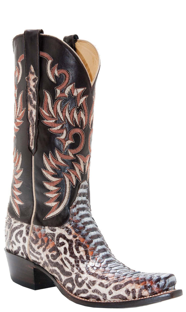 Lucchese Classics L4717 Womens Natural Blue Petroglis Python Chocolate Burnished Ranch Hand Calfskin Boot