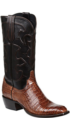 Lucchese CHARLES M1635.14 Mens Sienna Brown Caiman Crocodile Belly Boots