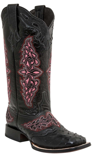 Lucchese AMBERLYN M4882.WF Womens Black Full Quill Ostrich Boots