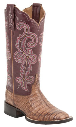 Lucchese ANNALYN M4941 Womens Tan Caiman Crocodile Belly Color Top Boots