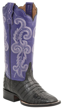Lucchese ANNALYN M4943 Womens Black Caiman Crocodile Belly Color Top Boots