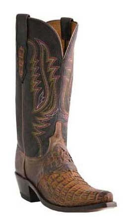 Lucchese ALYSSA M5628.S54 Womens Tan Burnished Hornback Caiman Crocodile Boots