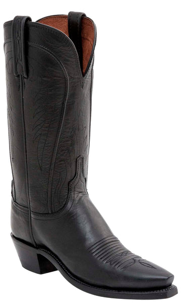 Lucchese AMBERLE N4605.R4 Womens Black Burnished Ranch Hand Calfskin Boots