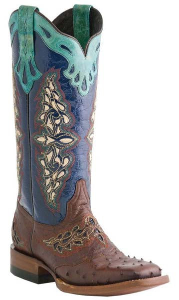 Lucchese AMBERLYN M5802.TWF Womens Sienna Full Quill Ostrich And Navy Spyke Calf Boots