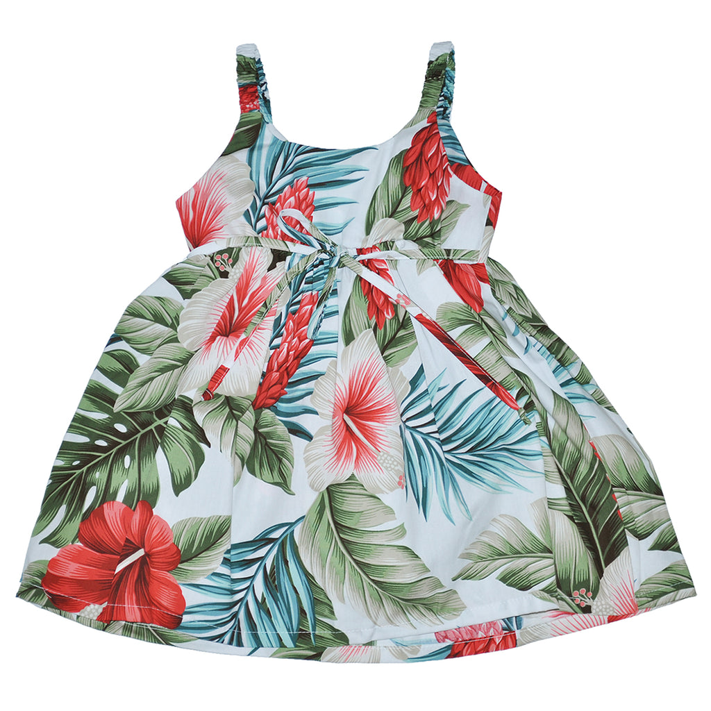 Girl's Botanical Isle Elastic Strap Sun Dress - Back