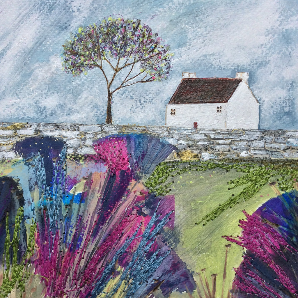 "Mixed Media Art By Louise O'Hara - ""A splash of colour at White Cottage"""