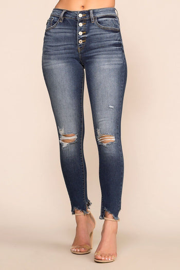 Distressed Denim High Waisted Skinny Jeans