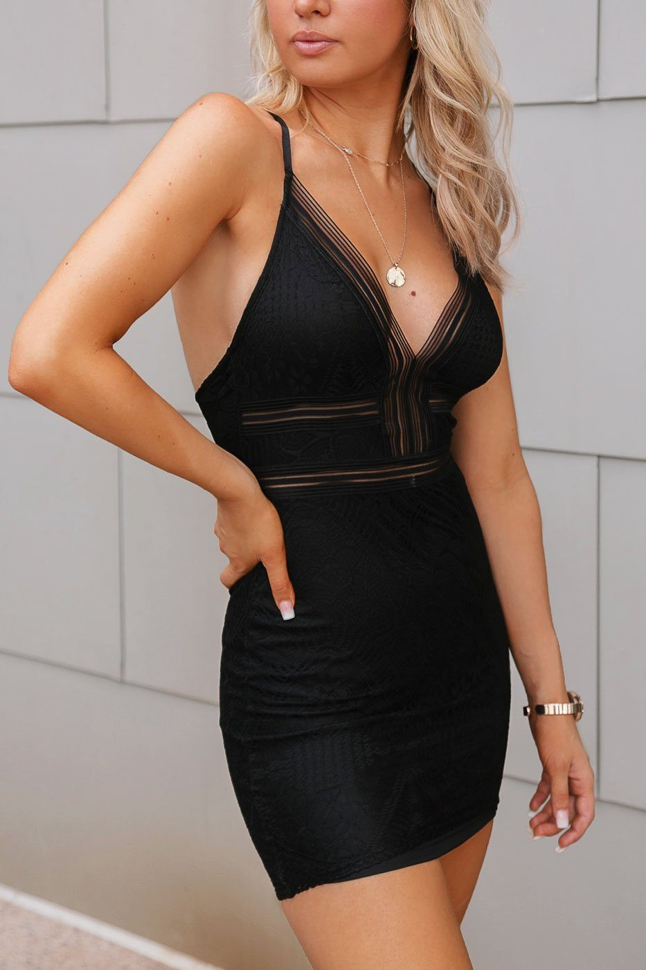 Black Lace Bodycon Mini Dress
