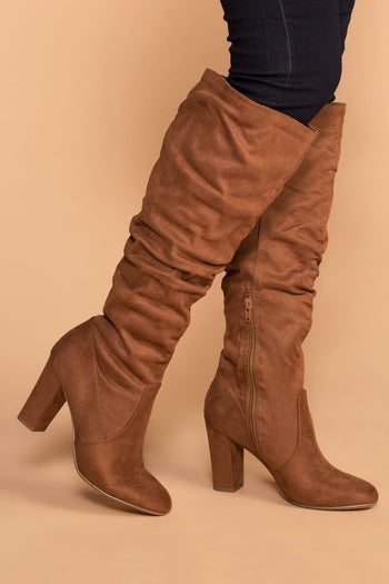 Priceless | Chestnut | Suede Knee High Boots | Womens