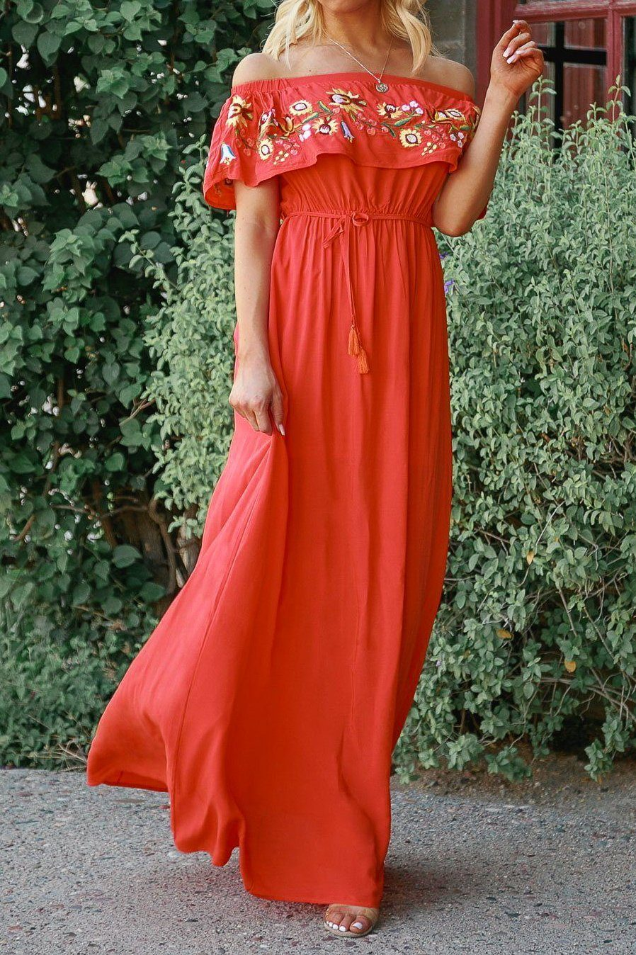 Catch Some Rays Red Embroidered Maxi Dress | Davi & Dani
