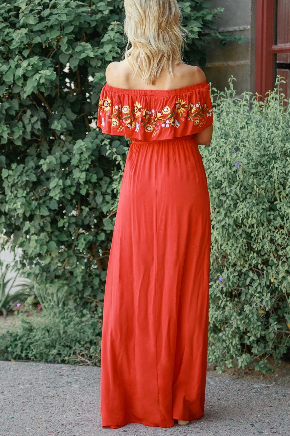 Red Embroidered Off The Shoulder Maxi Dress