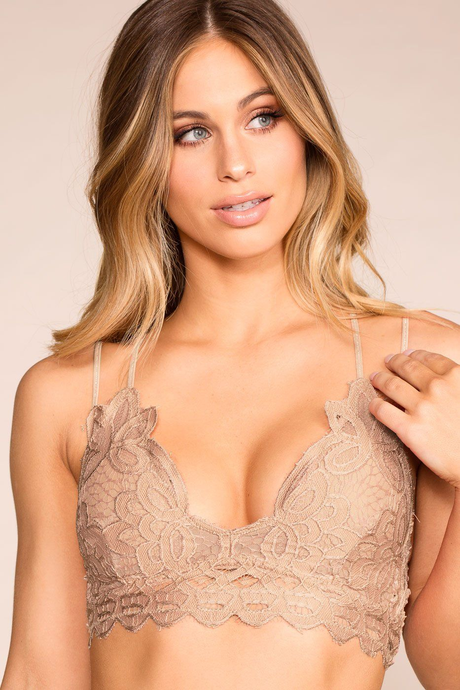 Taupe Grey Lace Bralette