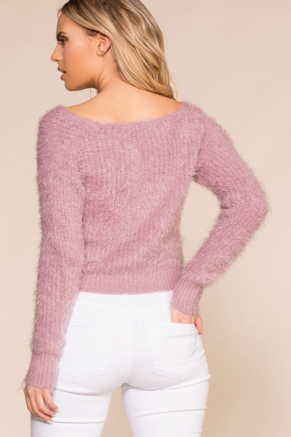 Lavender Fuzzy Button-Up Cardigan Top