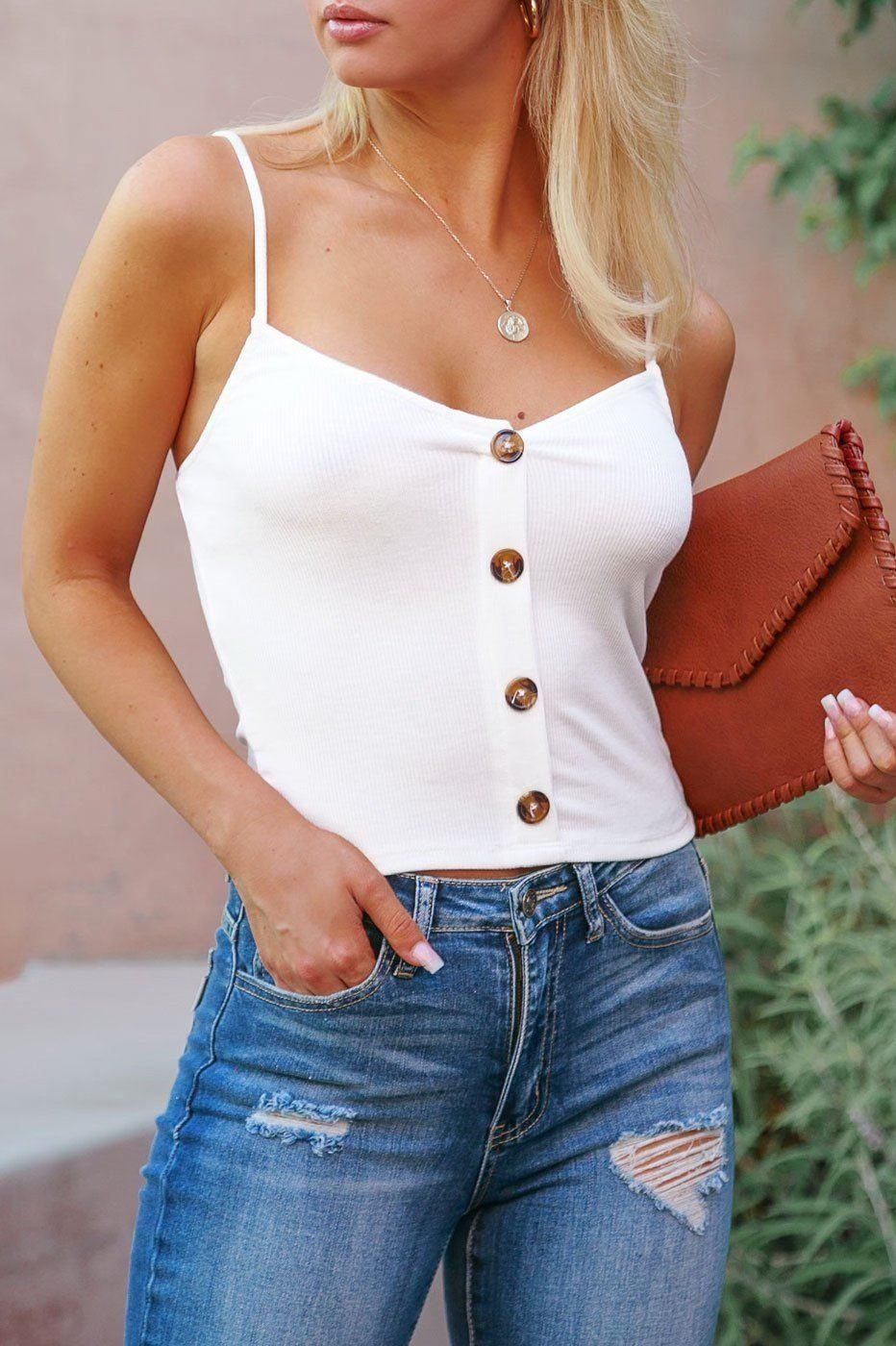 Brooklyn White Buttoned Crop Top