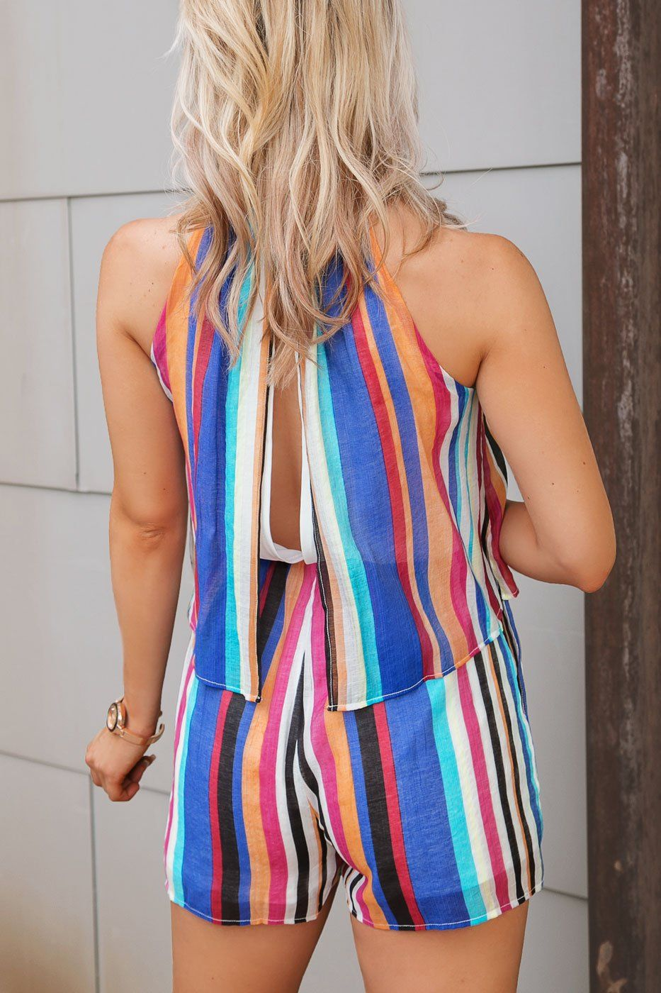 Colorful Striped Romper with Open Back