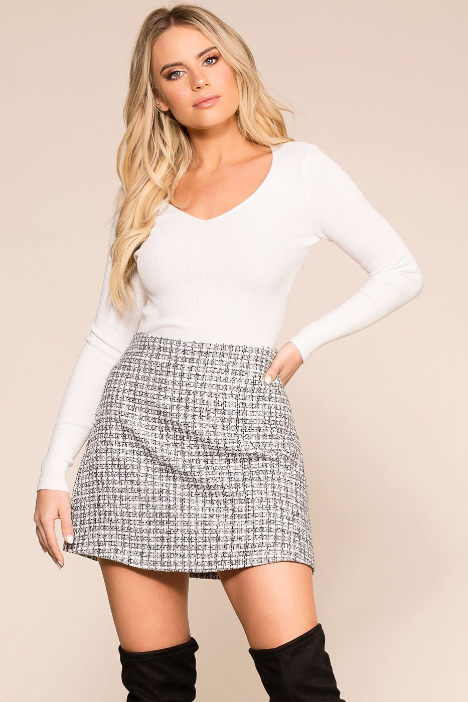 Priceless | Grey | Woven Mini Skirt | Womens