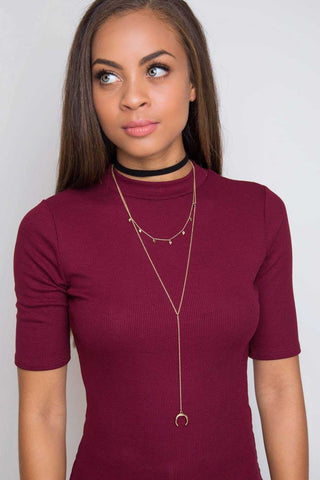 Rendezvous Denim Choker Set - Gold