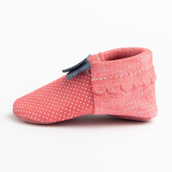 Red Denim Polka Dots Bow Mocc