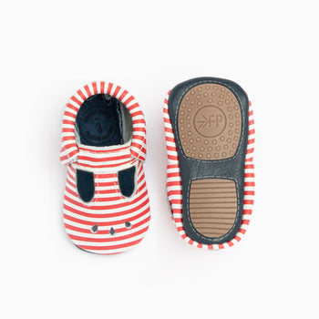Red and White Stripes Mary Jane Mini Sole