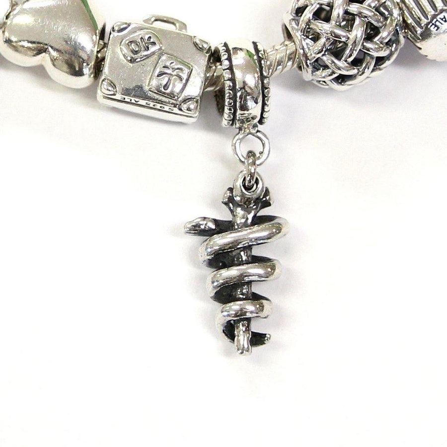 Rod of Asclepius Charm in Sterling Silver - Moon Raven Designs